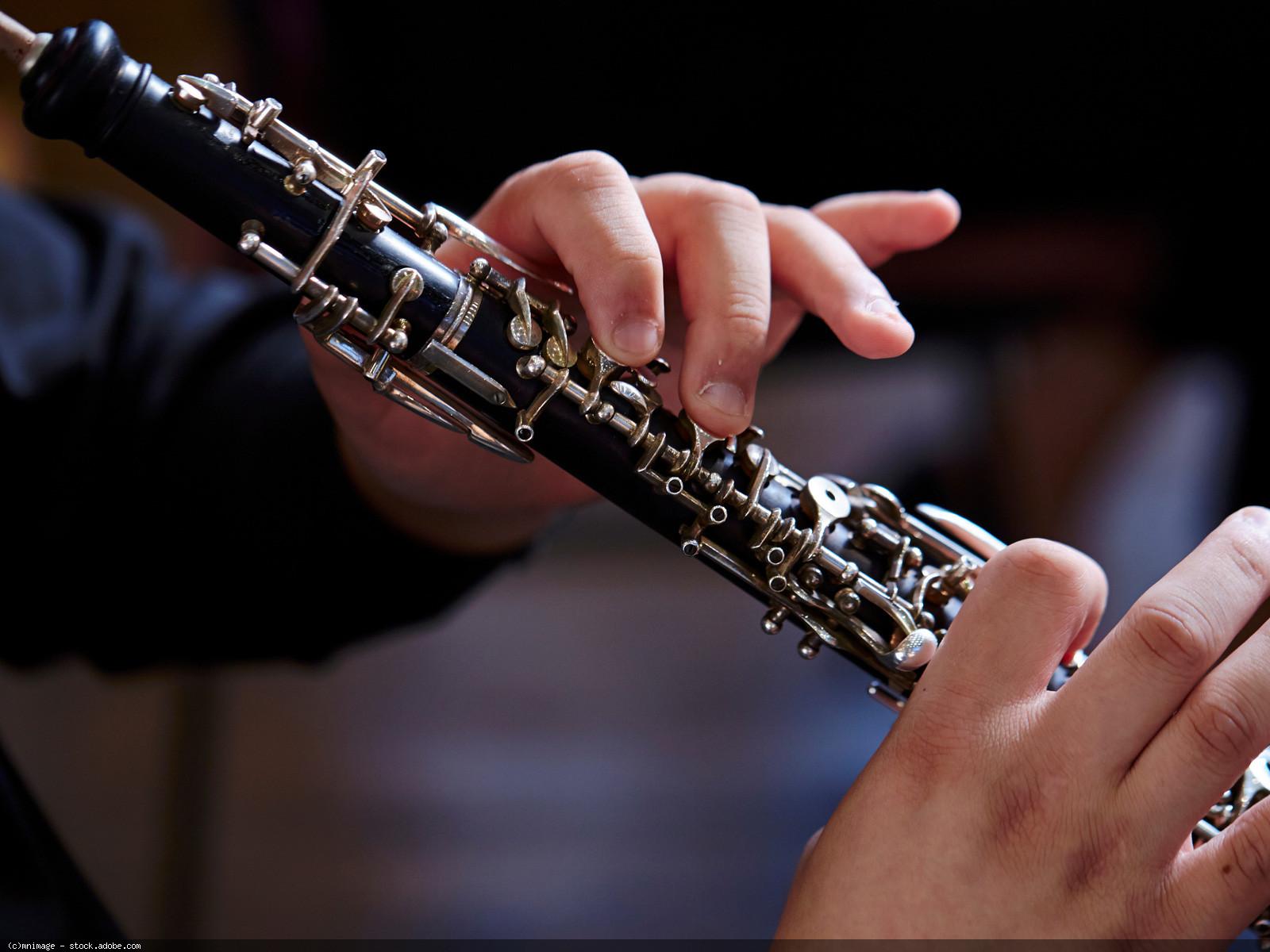 Oboe (Instrument mit spielenden Händen), © mnimage - stock.adobe.com (Zuschnitt)