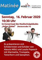 Plakat für Matinée im Hohen Giebel am Sonntag, 16.2.2020