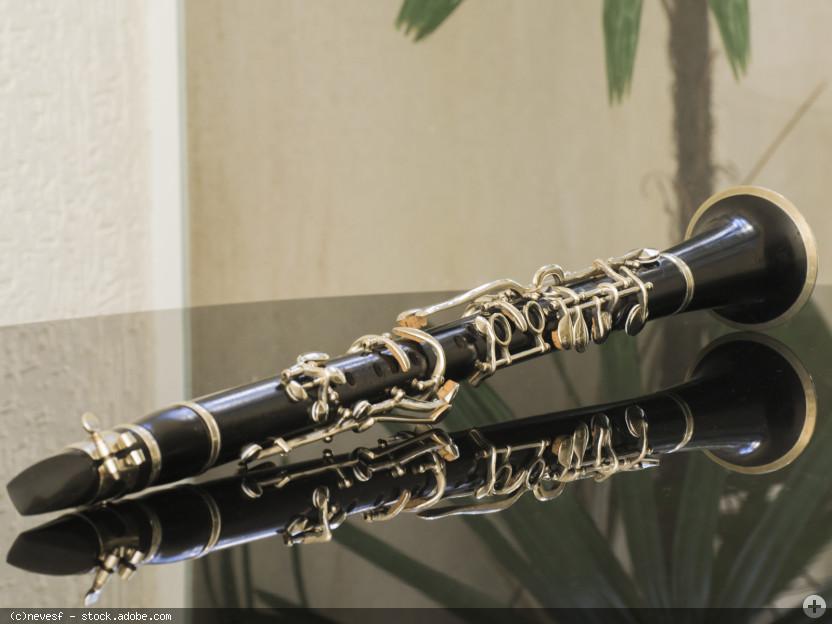 Klarinette spiegelt sich auf dem Deckel eines Flügels, © nevesf - stock.adobe.com (Zuschnitt)