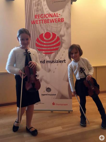 1. Preise an zwei Schülerinnen der Geigenklasse von Frau Dolgova beim Regionalwettbewerb Jugend musiziert 2019